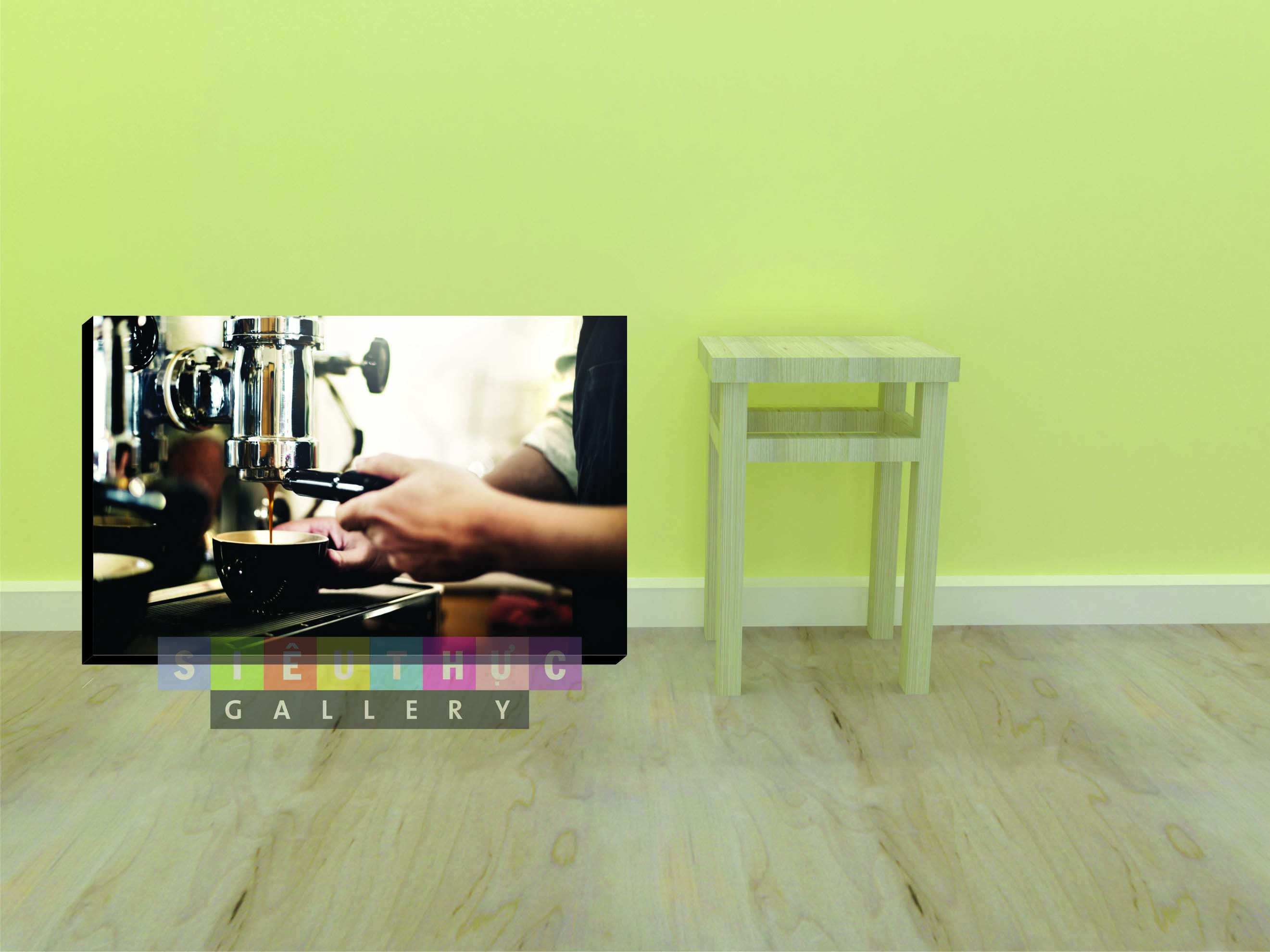 Tranh canvas máy pha cafe