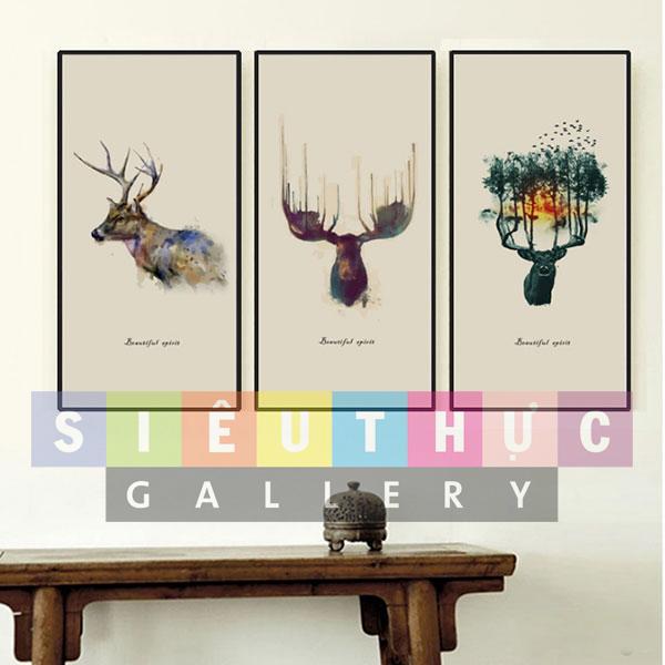 Bộ ba tranh canvas động vật