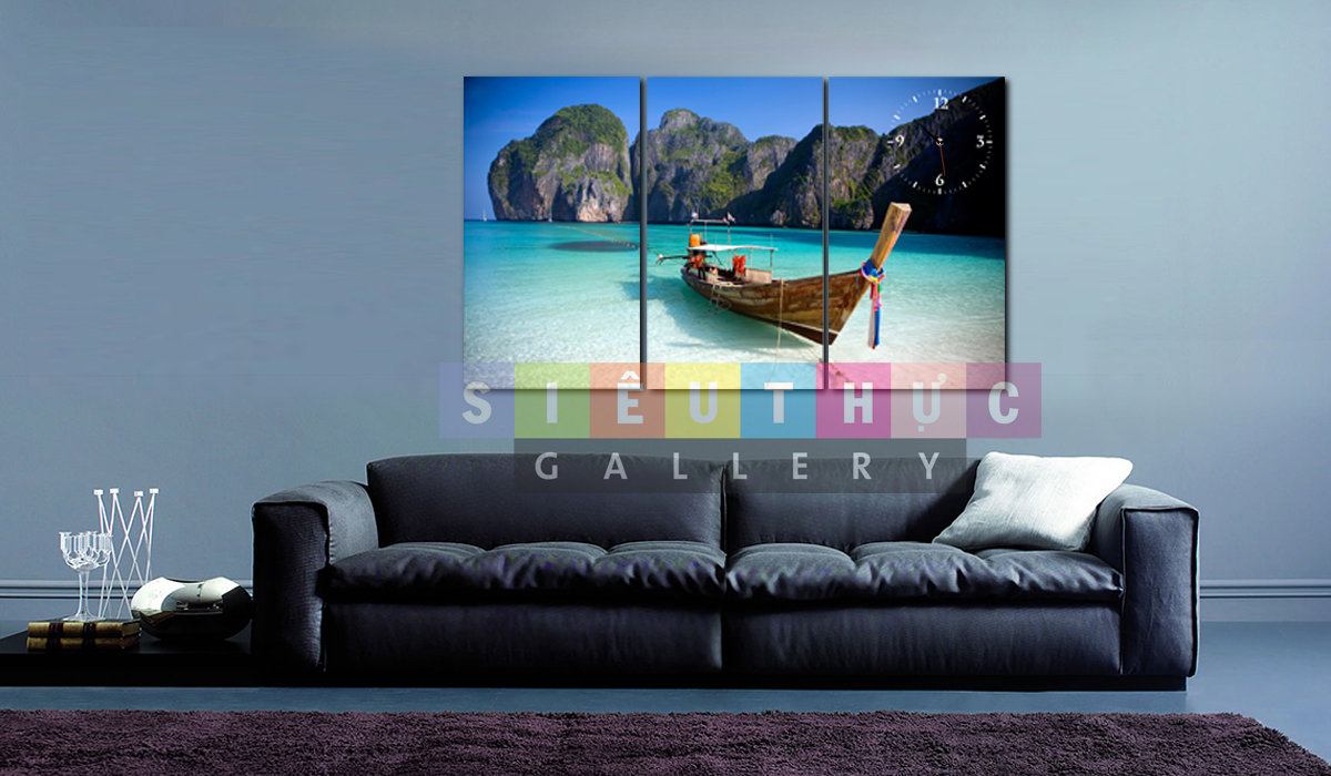 Bộ ba tranh canvas phong cảnh thuyền và biển