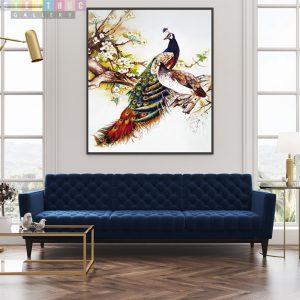 Tranh canvas chim công LD02