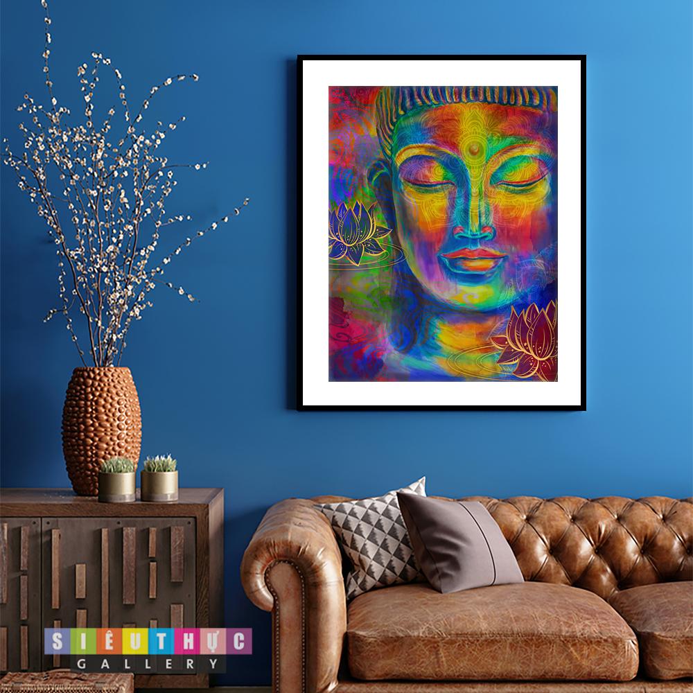 Tranh canvas mặt phật 7 màu mã PG12