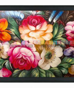 Tranh hoa nghệ thuật sơn dầu phủ kim sa cao cấp mã HH33